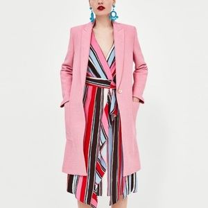 Zara pink textured weave coat